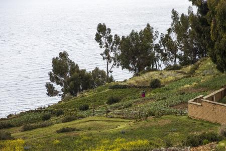 View at Isla del Sol on lake Titicaca in Bolivia Stock Photo