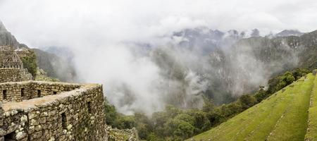 Aerial view at Machu Picchu ruins in Peru Stock Photo