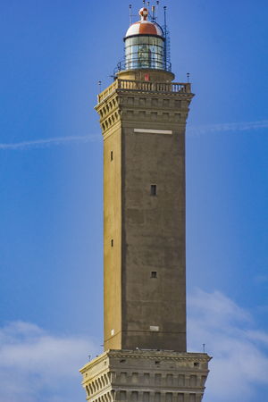 View at Lighthouse of Genoa in Italy Imagens