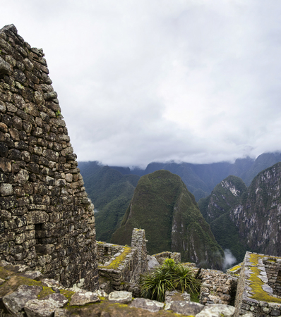 Detail of the Machu Picchu ruins in Peru Banque d'images