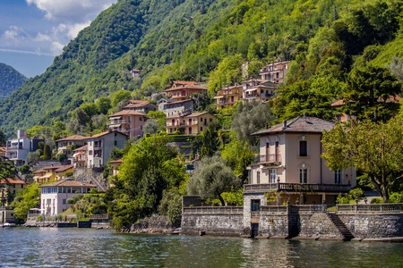 View at town Sala Comacina on Como lake in Italy