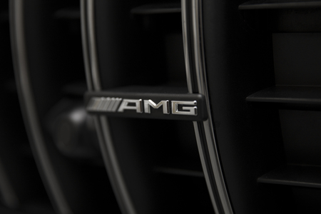 BELGRADE, SERBIA - APRIL 30, 2018: Detail of 2017 Mercedes-AMG GT C Coupe. AMG GT C Coupe was unveiled at the 2017 Detroit Auto Show. Editorial