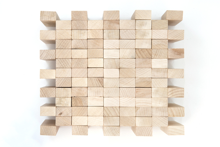 Group of wooden blocks isolated on the white background 写真素材