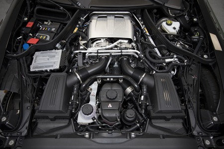 BELGRADE, SERBIA - APRIL 30, 2018: Detail of engine of 2017 Mercedes-AMG GT C Coupe. AMG GT C Coupe was unveiled at the 2017 Detroit Auto Show. Editorial