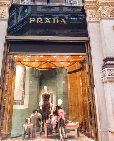 MILAN, ITALY - APRIL 26, 2017: Detail of the Prada store in Milan, Italy. Prada is an Italian luxury fashion house founded at 1913.