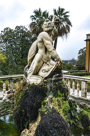 GENOA, ITALY - MARCH 11, 2018: Detail from Giardino del Satiro at Villa del Principe in Genoa, Italy. Villa was built between 1521 and 1529 for Andrea Doria, Admiral of Emperor Charles V.