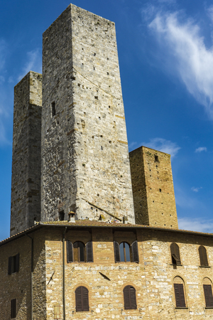 View at old stone towers at San Gimignano in Tuscany, Italy