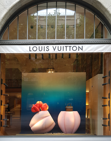 ZURICH, SWITZERLAND - MAY 18, 2018: View at Louis Vuitton shop in Zurich, Switzerland. Louis Vuitton is a French fashion house founded in 1854 and one of the worlds leading international fashion houses.
