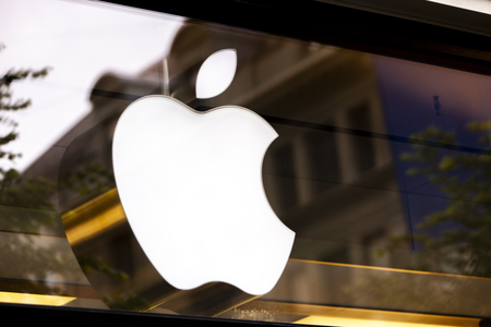 ZURICH, SWITZERLAND - MAY 17, 2018: Detail from Apple store in Zurich, Switzerland. Apple is American multinational corporation founded at 1976 at Cupertino, California.