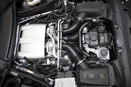BELGRADE, SERBIA - APRIL 30, 2018: Detail of engine of 2017 Mercedes-AMG GT C Coupe. AMG GT C Coupe was unveiled at the 2017 Detroit Auto Show. Stock Photo