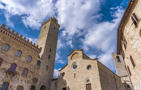 View at Duomo di San Gimignano in Tuscany, Italy.