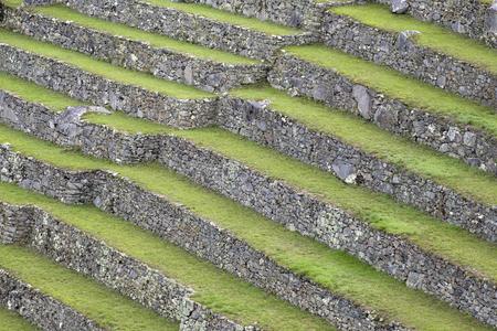 View at green terraces at Machu Picchu in Peru
