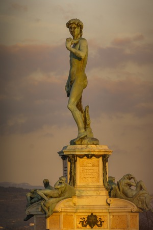 View at statue of David by Michelangelo at Piazza Michelangelo in Florence, Italy Redakční