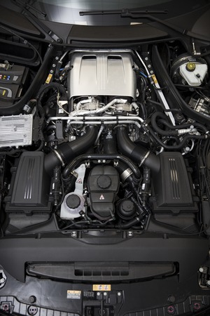 BELGRADE, SERBIA - APRIL 30, 2018: Detail of engine of 2017 Mercedes-AMG GT C Coupe. AMG GT C Coupe was unveiled at the 2017 Detroit Auto Show. 写真素材 - 102372519