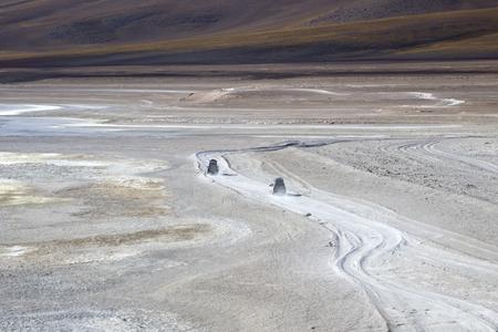 Terrain vehicles near laguna Verde in Bolivia