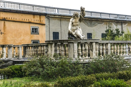 GENOA, ITALY - MARCH 11, 2018: Detail from Giardino del Satiro at Villa del Principe in Genoa, Italy. Villa was built between 1521 and 1529 for Andrea Doria, Admiral of Emperor Charles V. Standard-Bild - 102372545
