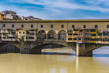 View at Ponte Vecchio over the Arno river in Florence, Italy