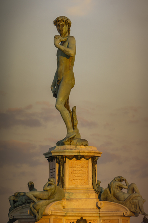 View at statue of David by Michelangelo at Piazza Michelangelo in Florence, Italy Reklamní fotografie