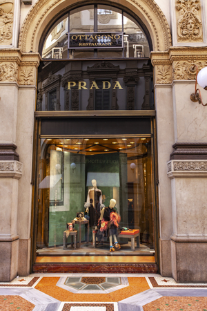 MILAN, ITALY - APRIL 22, 2017: Detail of the Prada store in Milan, Italy. Prada is an Italian luxury fashion house founded at 1913. Stock Photo - 102537823