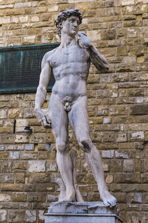 Reproduction of Michelangelo statue David in front of Palazzo Vecchio in Florence, Italy