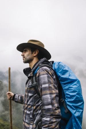 Portrait of hiker in Machu Picchu, Peru
