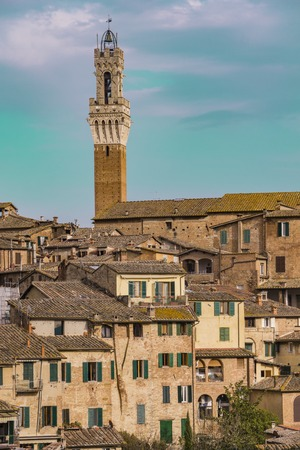 Aerial view at town Siena in Italy 写真素材