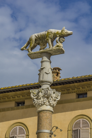 View at Capitoline Wolf statue in Siena, Italy