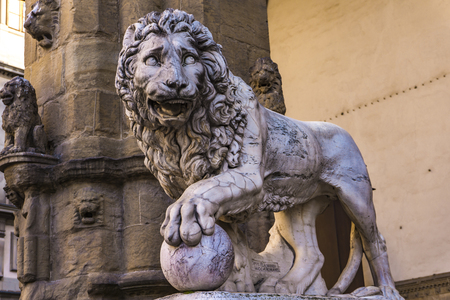 Closeup detail of Medici lions from Florence, Italy