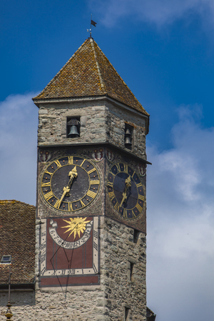View at old clocktower on Rapperswil castle on Zurich lake in Switzerland Editorial