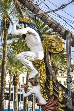GENOA, ITALY - MARCH 9, 2018: Galleon Neptun in Porto antico in Genoa, Italy. It is a ship replica of a 17th century Spanish galleon built in 1985 for Roman Polanskis film Pirates.