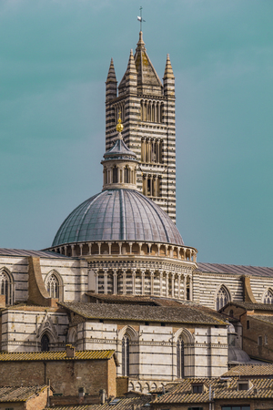Aerial view over Siena Cathedral