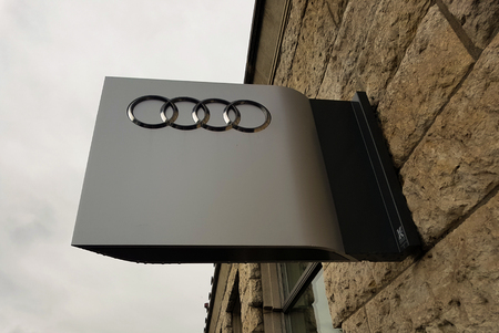 ZURICH, SWITZERLAND - MAY 16, 2018: Detail of the Audi car salon in Zurich, Switzerland. Audi is German automobile manufacturer founded at 1932 and now have 9 production facilities in 8 countries.