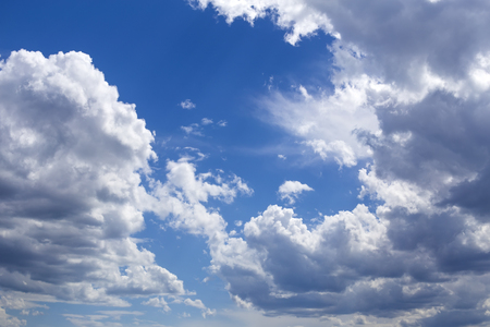 View at blue sky background with clouds