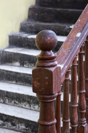 Closeup detail of the old wooden staircase