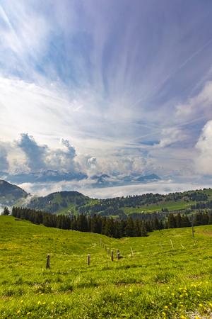 View to Swiss Alps from Rigi Kulm in Switzerland Stock Photo