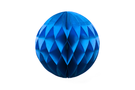 Blue honeycomb pom-pom paper ball decoration isolated on white background