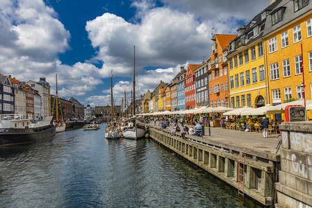 COPENHAGEN, DENMARK - JUNE 13, 2018: Detail from Nyhavn in Copenhagen, Denmark. Nyhavn is a 17th century waterfront and entertainment district in Copenhagen.