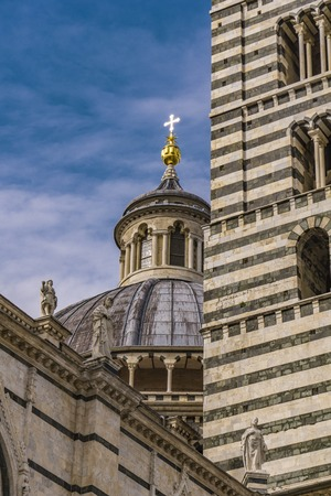Closeup view of the Siena cathedral in Italy