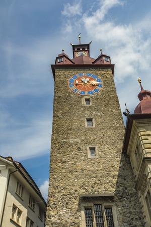 View at Rathaus Clock Tower in Lucerne, Switzerland