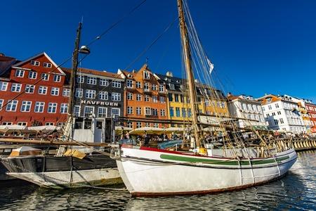 COPENHAGEN, DENMARK - JUNE 13, 2018: Detail from Nyhavn in Copenhagen, Denmark. Nyhavn is a 17th century waterfront and entertainment district in Copenhagen.