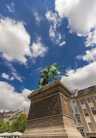 View at city founder Bishop Absalon statue in Copenhagen, Denmark Stock Photo