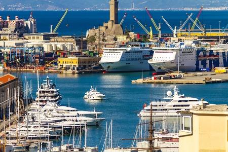 GENOA, ITALY - APRIL 29, 2017: Detail from Genoa port in Italy. Port of Genoa is the major Italian seaport.