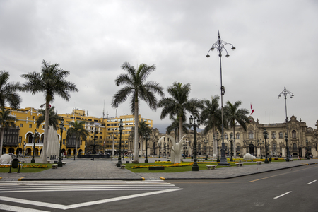 LIMA, PERU - DECEMBER 29, 2017: View at Presidential Palace in Lima, Peru. This Baroque Revival building was opened in 1938.