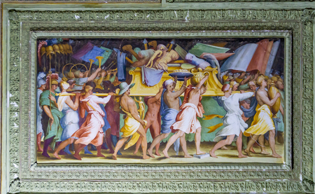 GENOA, ITALY - MARCH 11, 2018: Detail from Salone dei Giganti at Villa del Principe in Genoa, Italy. Villa was built between 1521 and 1529 for Andrea Doria, Admiral of Emperor Charles V.