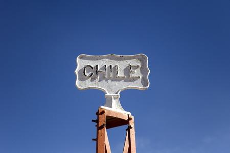 Closeup of the sign on Bolivia-Chile border