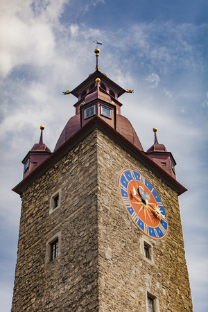 View at Town Hall Clock Tower in Lucerne, Switzerland Stock Photo