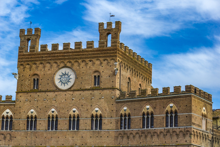 Detail of the Palazzo Pubblico in Siena, Italy