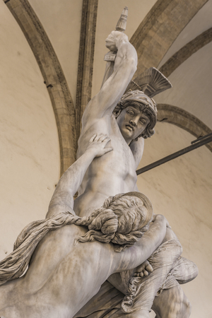 Statue Rape of Polyxena made by Pio Fedi in 1865 in Loggia dei Lanzi in Florence, Italy