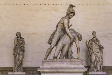 Restored Roman statue Menelaus supporting the body of Patroclus in Loggia dei Lanzi in Florence, Italy