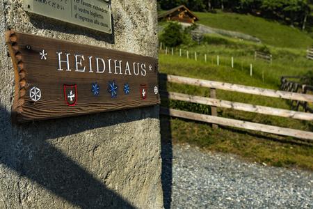 HEIDIDORF, SWITZERLAND - MAY 18, 2018: Detail of Heidihaus and exibit Johanna Spyri Heidiwelt in Heididorf, Switzerland. Heididorf have more than 150.000 visitors every year.